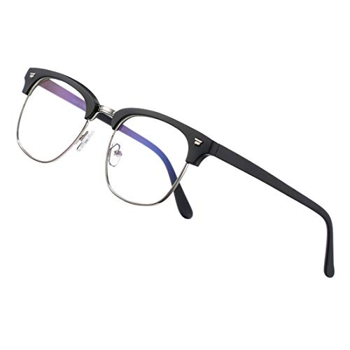COASION Blue Light Blocking Glasses Semi-Rimless Clear Lens Computer Game Eyeglasses Eyewear Frame(Matte Black)