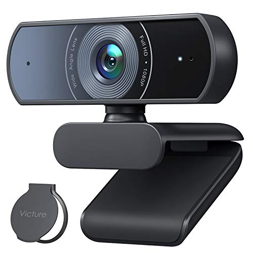Victure 1080P Webcam with Privacy Cover, Dual Stereo Microphones PC Camera, Full HD Video Camera for Computers PC Laptop Desktop, USB Plug and Play, Conference...