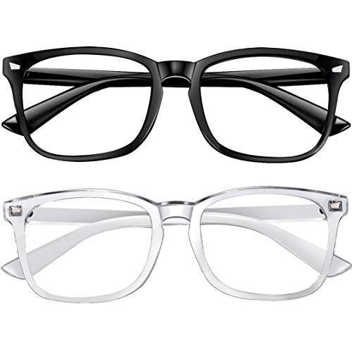 Blue Light Blocking Glasses 2pack Square Computer Glasses Women/Men, Nerd Reading Gaming Glasses Non Prescription (Black+transparent)