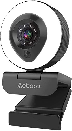 Webcam Streaming 1080P Full HD with Dual Microphone and Ring Light, Aoboco USB Pro Web Camera Stream for Windows Laptop Twitch Xbox One Skype YouTube OBS Xspli...