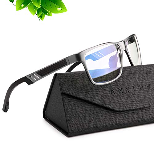 ANYLUV Blue Light Blocking Glasses Women Men - Computer Gaming Glasses,Anti Eyestrain,Al-Mg Metal Frame Ultra Light