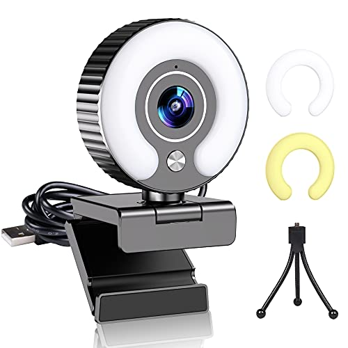 Streaming Webcam with Light Ring and Microphone FHD 1080P for Desktop Computer Web Camera for PC Mac Laptop Macbook Pro, Gaming Webcams USB for Streaming Twitch...