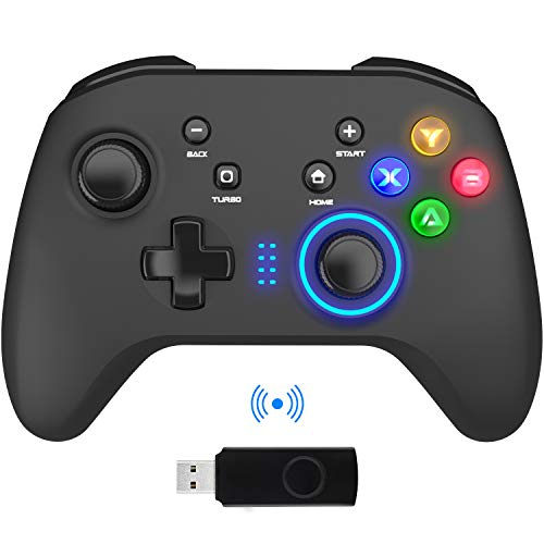 Wireless Gaming Controller, PC Video Gamepad Joystick with Dual Vibration and Remap M1-M4 Triggers, 2.4G Remote Game Console for Windows 7/8/10/XP/Laptop, PS3,...