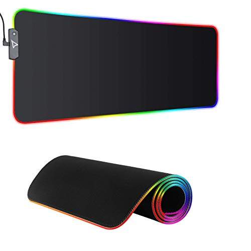 Dpower RGB Gaming Mouse Pad - Large Extended 13 Lighting Mode LED Soft Mouse Pad , Non-Slip Rubber Base, Waterproof, Computer Keyboard Mousepad Mat XXL for Pro...