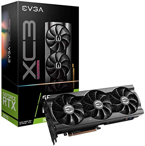2021_EVGA GeForce RTX 3070 RTX3070 XC3 Ultra Gaming, 08G-P5-3755-KR, 8GB GDDR6, iCX3 Cooling, ARGB LED, Supports 4K 120Hz HDR, 8K 60Hz HDR; Metal Backplate