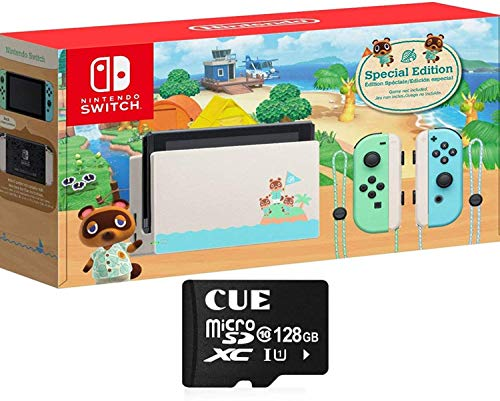 Nintendo Switch with Green and Blue Joy-Con - Animal Crossing: New Horizons Edition - 6.2' Touchscreen LCD Display, WiFi, Bluetooth, CUE 128GB MicroSD Card...