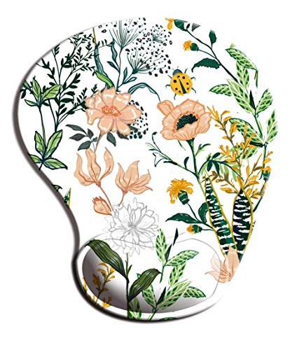 Dooke Ergonomic Mouse Pad with Wrist Support, Cute Mouse Pads with Non-Slip PU Base for Home Office Working Studying Easy Typing & Pain Relief Beautiful Floral