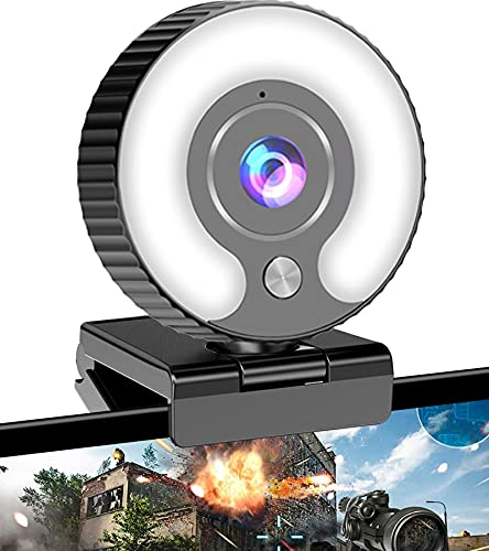 Streaming Webcam with Ring Light HD 1080P Web Camera with Microphone for Laptop, Desktop, Mac Mini, MacBook Pro/air, PC, Monitor, USB Face Cam for Gaming,...