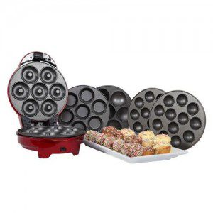 1950s Style Retro Diner 3 in 1 Sweet Snack Maker in Metallic Red - Cup Cakes, Muffins